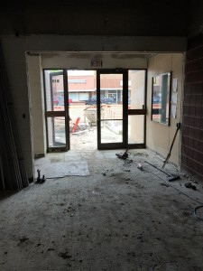 Looking E out main doors